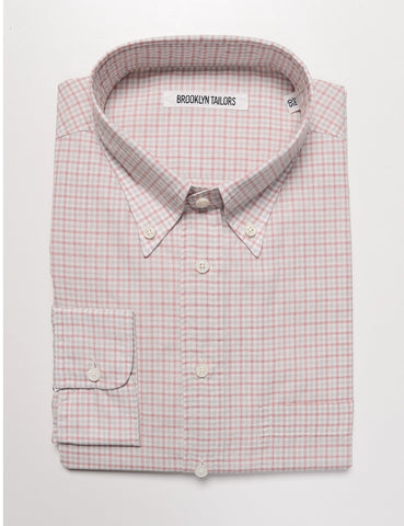 FINAL SALE: BROOKLYN TAILORS - BKT14 Relaxed Casual Shirt in Soft Cotton/Silk - White / Red Micro Grid