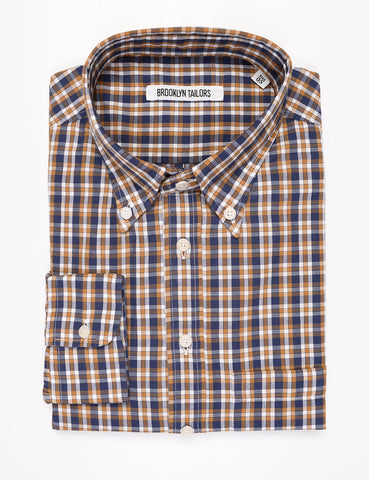 FINAL SALE: BROOKLYN TAILORS - BKT14 Relaxed Casual Shirt in 1970s Plaid - Blue / Marigold / White