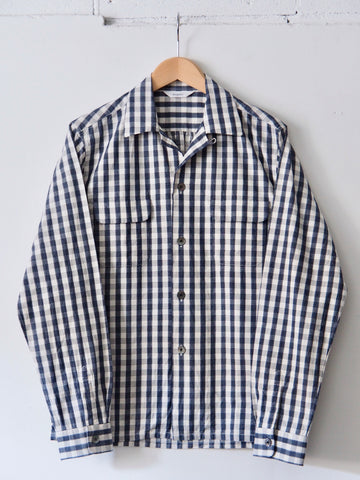 FUJITO - Open Collar Shirt in Navy Check
