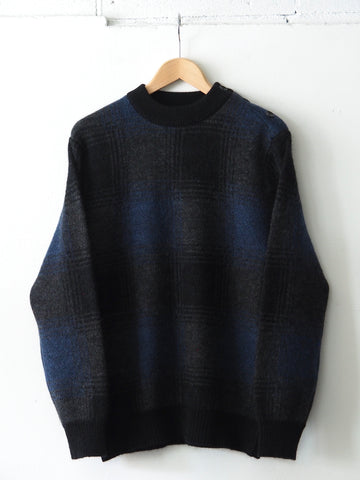 FUJITO - Country Sweater in Big Check - Navy