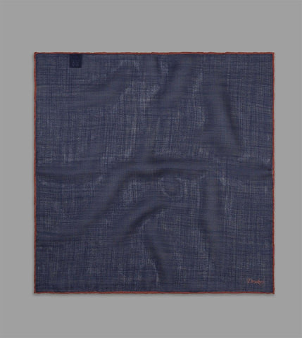 DRAKE'S - Shoestring Border Pocket Square in Wool/Silk - Navy and Rust