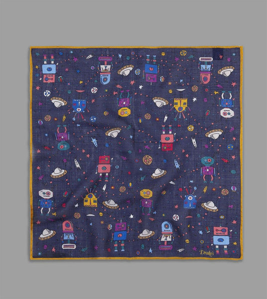 FINAL SALE: DRAKE'S - Space Robot Print Pocket Square in Wool/Silk - Navy