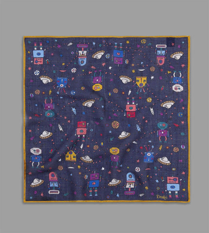 DRAKE'S - Space Robot Print Pocket Square in Wool/Silk - Navy