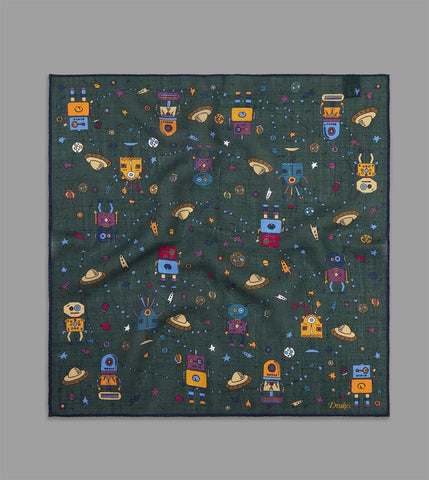 DRAKE'S - Space Robot Print Pocket Square in Wool/Silk in Green
