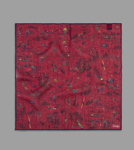 FINAL SALE: DRAKE'S - Skiing Print Pocket Square in Wool/Silk - Red