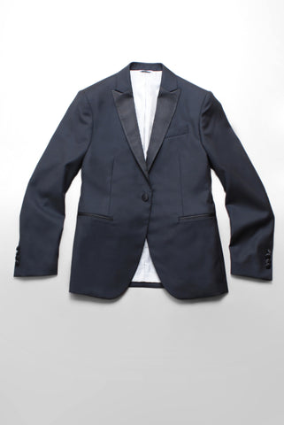 BROOKLYN TAILORS - Full Canvas Tuxedo Jacket - Black with Satin Lapel