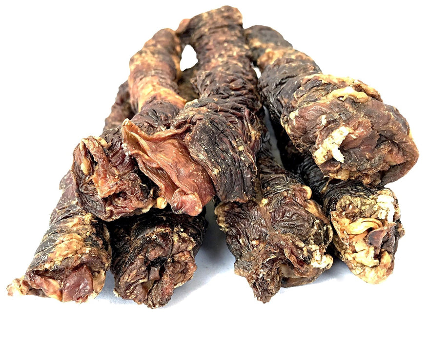 Beef Weasand dog treat. Dehydrated, slow oven dried treat. A healthy all natural pet treat available from snax.pet
