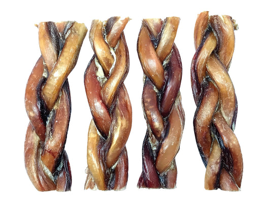 Standard Braided Bully Stick or Beef Whizzer pet treats. Dogs love these chew treats. All Natural, All Australian produce. Available from snax.pet