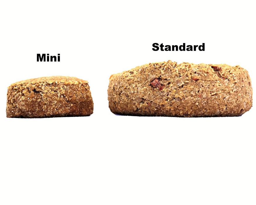 Oven Baked chocolate carob pet treat biscuits, showing two size options. Side on view of Standard and Mini. snax.pet