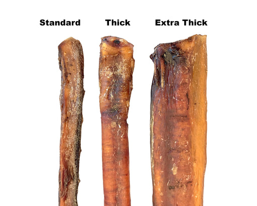 Bully Sticks comparison, showing three thicknesses close up view. Oven dried, popular pet treat. Available to purchase in lengths of 15cm and 30cm from snax.pet
