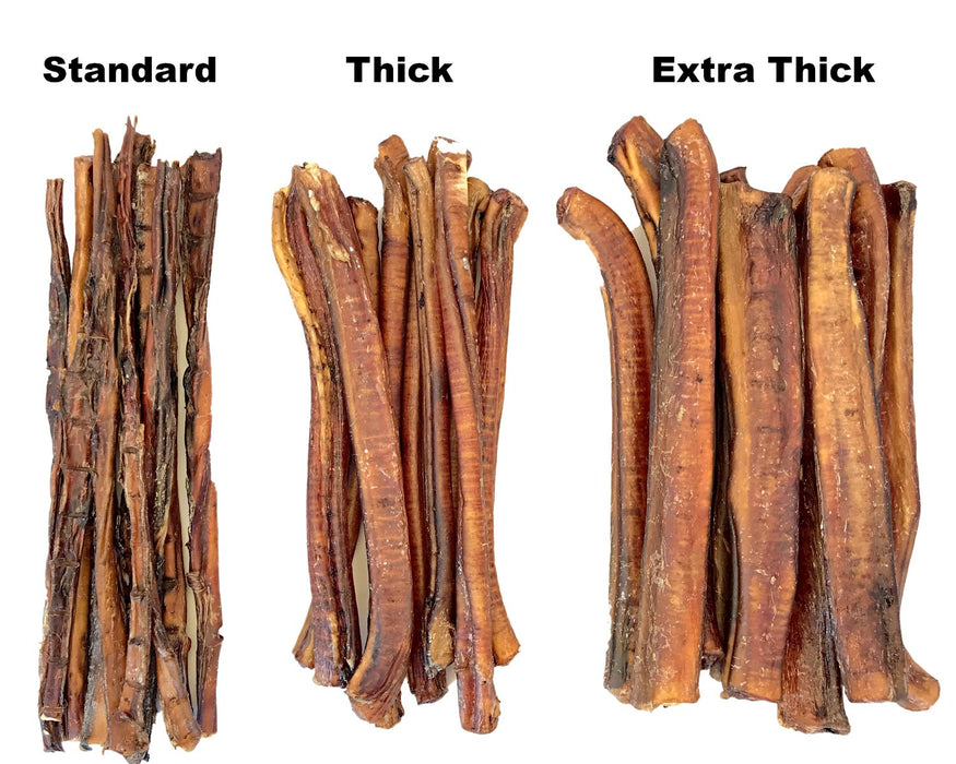 Bully Sticks comparison, showing three thicknesses. Available to purchase in lengths of 15cm and 30cm from snax.pet