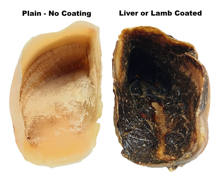 Comparison of plain beef cow hoof and the beef liver coated beef cow hoof. Dogs love them as a super long lasting chew pet treat. snax.pet