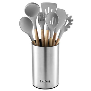 Stainless Steel Kitchen Utensil Holder, Kitchen Caddy, Utensil Organizer, Round Shape Utensils Crock, 7 by 4.3
