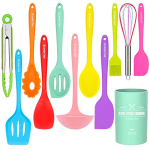 Silicone Cooking Utensils Kitchen Utensil Set-12 Pieces Colorful Kitchen Utensils Cooking Tools Turner Tongs Spatula Spoon for Nonstick Cookware – Best Kitchen Tools with Utensil Crock by Umite Chef