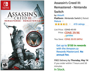 Amazon Canada Deals: Save 40% on Assassin's Creed III: Remastered – Nintendo Switch + 42% on Electronic Pet Dog Interactive Puppy + More Offers