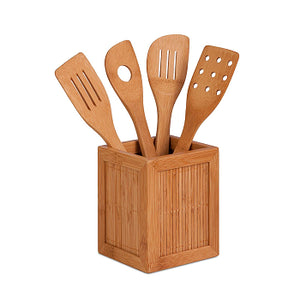Bamboo Kitchen Utensil Caddy (5 Piece) Only $7.99!