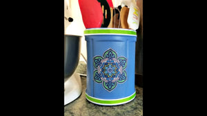 Make this pretty DIY Decoupage Coffee Container Utensil Holder for your kitchen