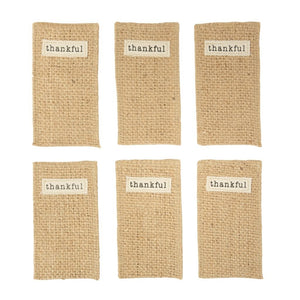 Jute Thankful Utensil Holder Set by Mud Pie