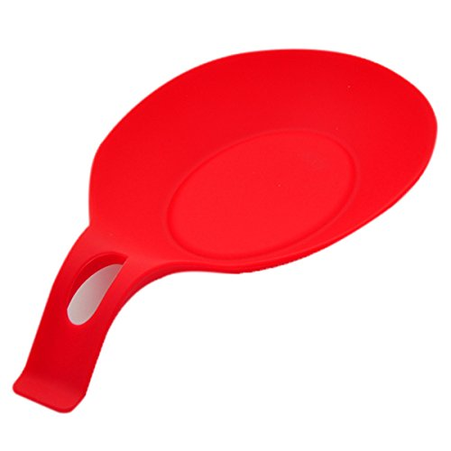 Silica gel Spoon pad - SODIAL(R)Kitchen Heat Resistant Silicone Spoon Rest Utensil Spatula Holder Kitchen Tool£¨red£