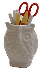 "Black Friday Deals - abhandicrafts - 5"" Ceramic Pen Pencil Holder Stationary Organizer Cooking Utensil Holder for Home Office Artificial Planter by abhandicrafts (Owl Shaped White)"