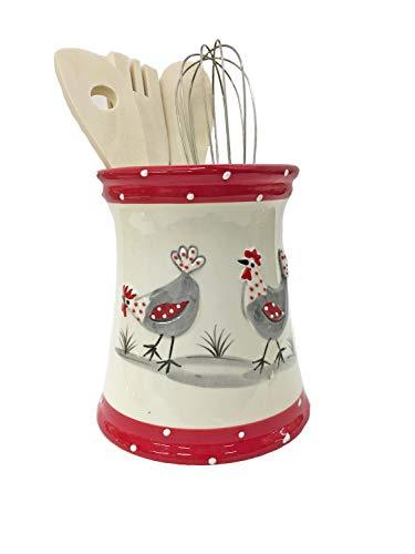 043510 White Ceramic Utensil Holder With Hen Design And 5 Utensils