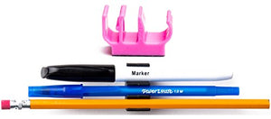 (30 pk) Pink Colored Pencil Pen and Marker Holder Adhesive Clip - Best Mount Organizer to Stick on The Wall, Tablet, Locker, Binder - Great for Student, Kids, School Supplies, Organization