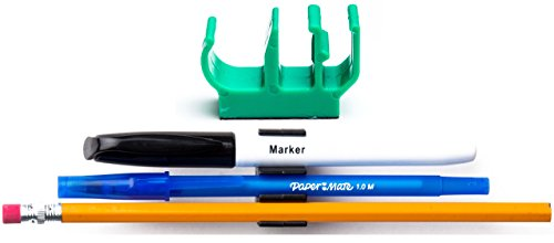(10 pk) Green Self Adhesive Pencil Pen and Marker Holder Adhesive Clip - Best Mount Organizer to Stick on The Shelf, Dashboard, Metal Door - Great for delivery Driver, Mail Carrier, delivery Truck
