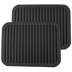 "ME.FAN 9"" x 12"" Big Silicone Trivets - Multi-purpose Silicone Pot Holders, Spoon Rest and Kitchen Table Mat - Insulated, Flexible, Durable, Non Slip Hot Pads and Coasters (2 Set) Black"