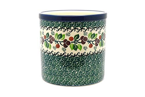 Polish Pottery Utensil Holder - Burgundy Berry Green