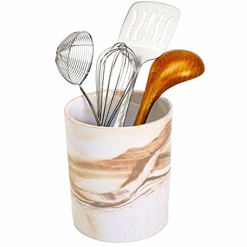 Porcelain Kitchen Utensil Holder 7 Inches Tall - Desert Brown Decorative Marble Crock Utensils Holder, Art and Office Supplies Holder - By Marbelous