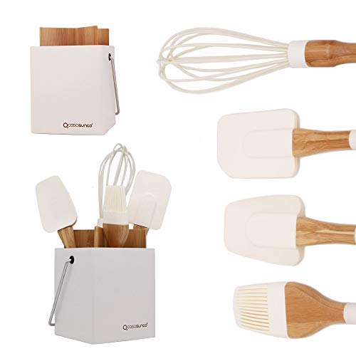 Cooking Utensil Set of 4 with Holder– Beech Wood & Silicone – Practical Heat-Resistant Non-stick Durable – Brush, Spoonula, Whisk… by CASASUNCO (Brown)