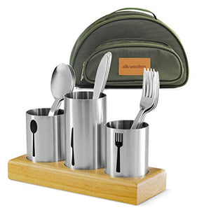 Utensil Caddy with Silverware Cutlery Holder Set Stainless Steel Flatware with Bamboo Wood Base Organizer & Carry Bag with Forks Knives Spoons Ideal Dining Entertaining Tailgating Picnics Camping