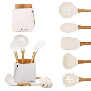 Cooking Utensil Set of 5 with Holder– Beech Wood & Silicone – Practical Professional Heat-Resistant Non-stick Durable - Turner, Spoon, Ladle… (Creamy White)