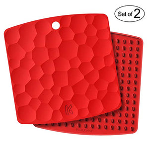 "KozyGear 2 sets of 7"" x 7"" Silicone Trivet Mats, Hot Insulation Pads, Hot Pan Pot Holder, Bottle/Jar Opener, Heat Resistant To 442 °F For Oven - Non-Slip, Flexible, Waterproof [Z3 - Series] (RED)"