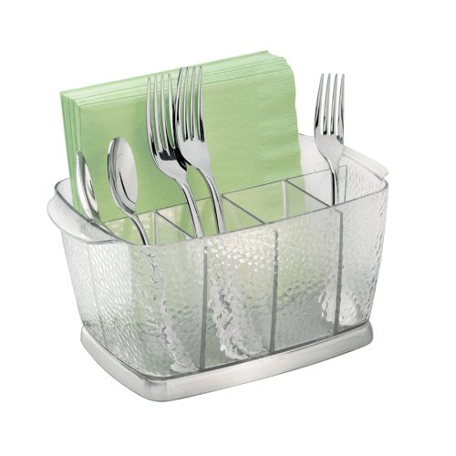 iDesign Rain Plastic Silverware Caddy Organizer Flatware Holder for Kitchen Countertop Storage, Dining Table, Outdoor Patio, Picnic Tables, Clear