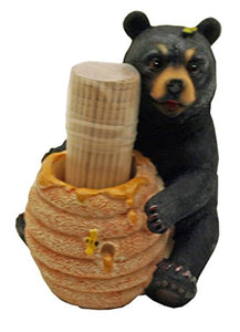 1 X Cute Black Bear / Honey Pot Toothpick Holder - Decorative Lodge Cabin Bear Cub Decor
