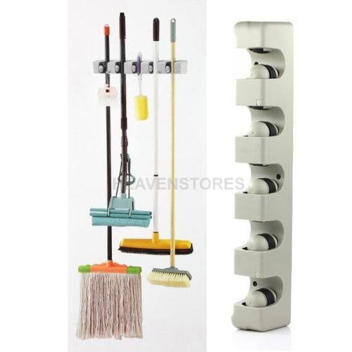 NPLE--5 Racks Kitchen Storage Brush Mop Broom Holder Organizer Tool Wall Mount Hanger