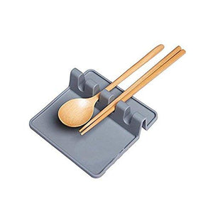 Momshand Kitchen Silicone Utensil Rest Ladle Spoon Holder Multipurpose Kitchen Utensil Rest (Grey)