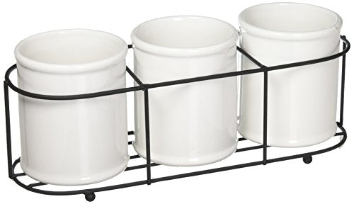 Creative Co-Op Set of 3 White Ceramic Crocks in Black Metal Holder