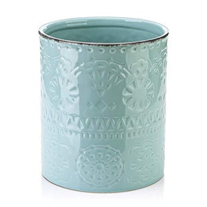 LIFVER Ceramic Embossed Crock Utensil Holder, Height 7.2 Inch, Diameter 6.2 Inch, Blue