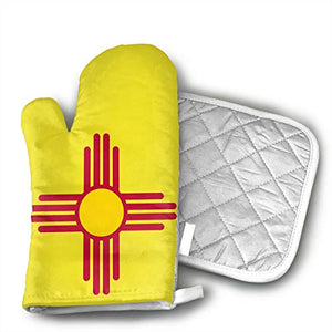 TRENDCAT New Mexico Flag Oven Mitts and Potholders (2-Piece Sets) - Extra Long Professional Heat Resistant Pot Holder & Baking Gloves - Food Safe