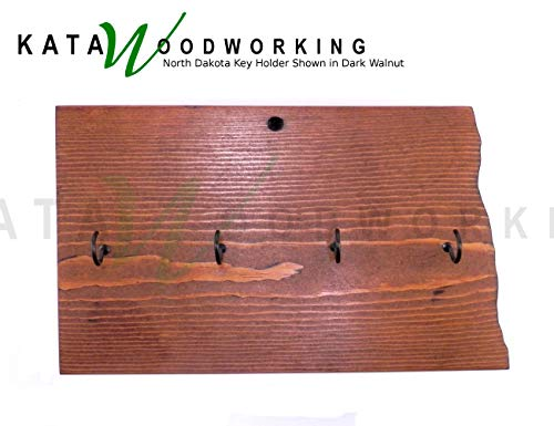 North Dakota Key Holder for Wall - Wood Wall Mount - State Shaped Cut Out for Wall - Handmade