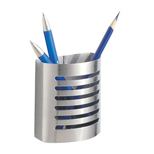 "iDesign Forma Magnetic Modern Pen and Pencil Holder, Metal Writing Utensil Storage Organizer for Kitchen, Locker, Home, or Office, 3.25"" x 1.75"" x 3.50"", Brushed Stainless Steel"