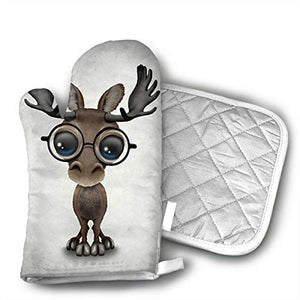 TRENDCAT Cute Curious Baby Moose Nerd Wearing Glasses Oven Mitts and Potholders (2-Piece Sets) - Extra Long Professional Heat Resistant Pot Holder & Baking Gloves - Food Safe
