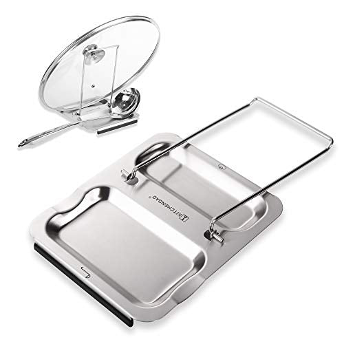 Lid and Spoon Rest - Foldable for Easy Storage| Anti-slip base?Utensils Lid Holder with Food-grade 304 Stainless Steel| Prevents Splatters Drips | Easy to Clean by Kitchendao