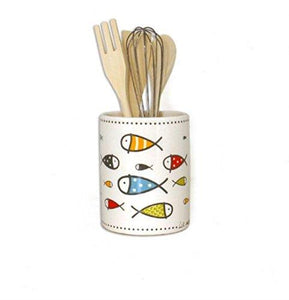 007424 White Ceramic Utensil Holder With Colorful Fish Design And 4 Kitchen Utensils