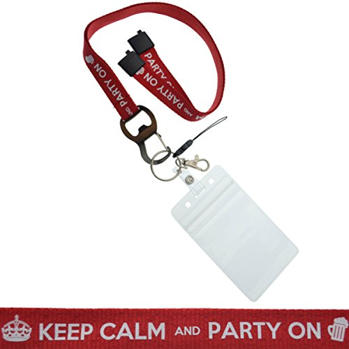 Keep Calm and Party On Lanyard with Bottle Opener, Key Ring, USB Loop & Badge Holder (1, Red)