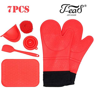 "Jea-S Silicone Oven Mitts and Potholder 7-Piece Set - Heavy Duty Extra Long Professional Cooking Gloves 14.7"" (X 2), Kitchen Counter Safe Trivet, Pinch Grip, Spatula, Funnel, Wire Ball Cleaner - RED"