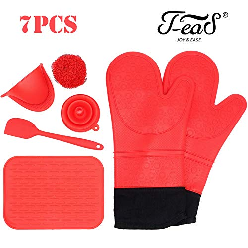 Jea-S Silicone Oven Mitts and Potholder 7-Piece Set - Heavy Duty Extra Long Professional Cooking Gloves 14.7