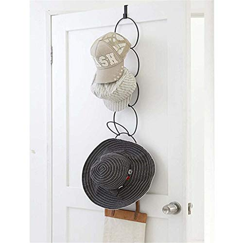 Door Mounted Hat Cap Rack, Stackable Metal Wire Over-The-Door Closets Hanging Baseball Cap Holder Organizer for Bags Scarves Ties Belts Toys Gloves Lightweight Apparel with Door Hooks & 5 Rings